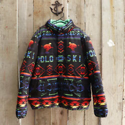 New Polo Down Jacket Native Pattern Skier Motif S Rainbow Color O