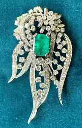 Vintage 1970's Women's 8.60ct Green Emerald And White Cz 925 Ss Awesome Brooch Pin