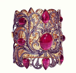 Victorian Look Rose Cut Diamond 8.48ct Silver 925 Ruby Attractive Party Bracelet