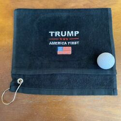 TRUMP *** AMERICA FIRST Black Golf Towel 11x18 Embroidered