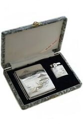 New Antique Collectible Solid Sterling Silver Cigarette Lighter Case Box