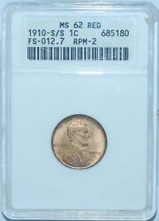 1910 S/s Anacs Ms62rd Fs-502 Red Repunched Mintmark Rpm Lincoln Cent