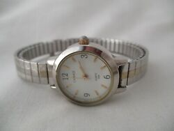 Carriage By Timex Watch Silver Toned Expansion Round White Face Wr 30m