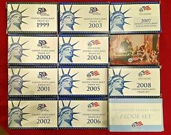 1999-2008 2009 S Us Mint Complete Proof 11 Sets 125 Coins Quarters Collector's