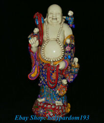 24 Old Chinese Famille Rose Porcelain Stand Happy Laugh Maitreya Buddha Statue