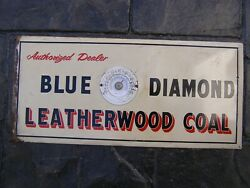 Blue Diamond Leatherwood Coal Thermometer Tin Sign Rare 1930and039s 40and039s Advertising