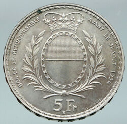 1934 Switzerland Swiss Shooting Festival Fribourg Genuine Silver 5 F Coin I87163