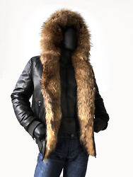 Jakewood Menandrsquos Dark Brown Leather Jacket Coat And Natural Fur Lining Hoodsize M