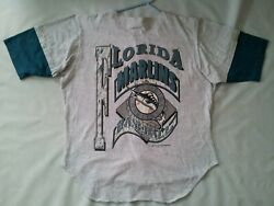 Vintage Rare Made In Usa Tru Fan 1993 Florida Marlins 100 Cotton Jersey Size L