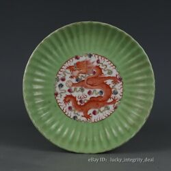 Antique China Ming Blue And White Red Color Seawater Dragon Porcelain Plate Mark