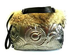 New Coach Ltd Ed Coyote Fur Silver Metallic Quilted Op Art C Carryall Tote Bag