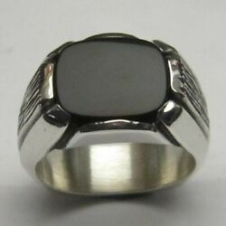 Natural Black Onyx Gemstone With 925 Sterling Silver Ring For Menand039s 1140