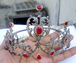 7.50ct Antique Rose Cut Diamond Silver Queen Design Ruby Tiara Crown Party Style