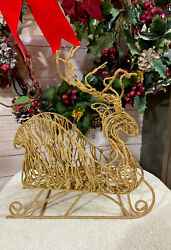 Vintage Christmas Reindeer Sleigh Table Mantel Decoration Gold Glitter Wire