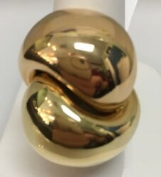 18k Yellow And Pink Gold Dome Ring Made In Italy Size 7 13.8 Dwt