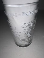 Vtg. 1963 Flintstones Fred Builds A Doll Cave Pebbles Glass Drink Jelly Dino