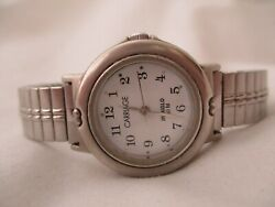 Carriage By Timex Indiglo Watch Silver Toned Expansion Band Round White Face