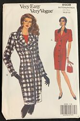 Vintage Very Easy Very Vogue Pattern 8508 Dress And Coat 18-20-22 Uncut