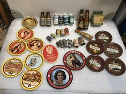 Mixed Lot Of Breweriana And Collectibles. Miniatures Beer Trays, Bottles, Cans