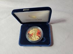 2014 American Silver Eagle Flaming Stallion Horse Gold Gilded Colorized 1oz Coin