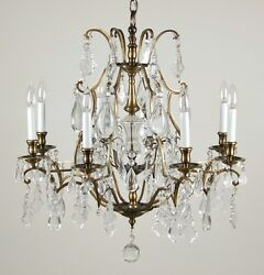 Vintage Salvage French Style Crystal Pendalogue Tear Drop Prism Chandelier