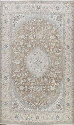 Muted Semi Antique Traditional Floral Area Rug Distressed Hand-knotted Wool 8x12