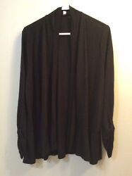 Relativity Plus Sz 2x Black Cardigan Open Front Ruched 3/4 Sleeve Wear Over Top