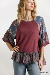 Umgee Floral Animal Print Waffle Knit Bell Sleeve Top Size S