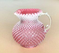 Antique Pre 1940 Fenton Pink Opalescent Hobnail Large Pitcher 7.75 Tall