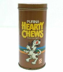 Vintage Purina Tin Can Dog Treat Metal Container 1970s Advertising Collectible