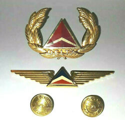 Pilot Delta Wings Airlines Rare Pin Hat Cap Badge Aviation Buttons Set
