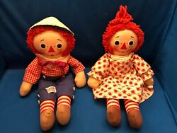 Vintage 60's Raggedy Ann And Andy 16 Inch Musical Doll Set By Knickerbocker