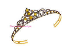 Antique Rose Cut Diamond 7.30ct Sterling Silver Citrine Queen Party Tiara Crown