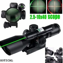 Ade Tactical Compact Green Laser 2.5-10x40 Illuminated 4 Reitcle Riflescope
