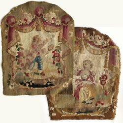 Pair Antique Aubusson Or Gobelin Wool And Silk Woven Chair Back Panels For Pillow