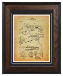 Firearms Patent Reproduction, Sharps Rifle 1867 Custom Matted And Framed