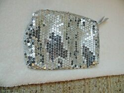 AVON SILVER CLUTCH EVENING BAG PURSE w Silver Reflective Sequins PolyesterLining $14.85