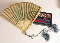 Antique Early Chinese Floral Fan Cased In Antique Box Hand Painted Beautiful