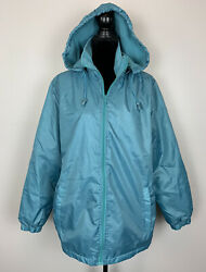 Totes Women's Blue Zip Up Hooded Rain Coat Jacket Zip Up Size Large $25.00