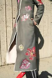 Tulip Embroidered Long Fur Shearling Sheepskin Leather Coat Size S