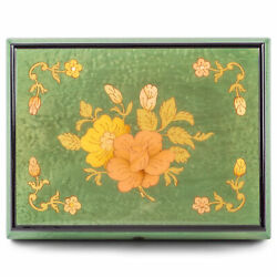 Sage Green Floral 6x5 Italian Hand Crafted Inlaid Wood Jewelry Box Water Music