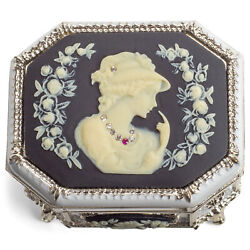 White Black Cameo Octagon Silver Accent 4x3 Jewelry Box My Heart Will Go On