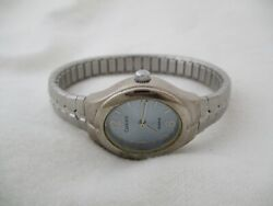 Carriage By Timex Watch Silver Toned Expansion Band Blue Oval Shaped Face