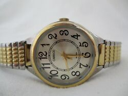 Carriage By Timex Watch Silver And Gold Toned Expansion Band Round Face