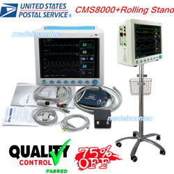 Portable Multi-parameter Vital Signs Patient Monitor+rolling Stand Icu/ccu Usa