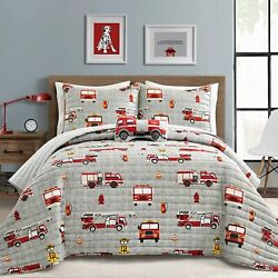 Pbandj Make A Wish Fire Truck Red And Gray Reversible Print 3 Piece Quilt Set Twin