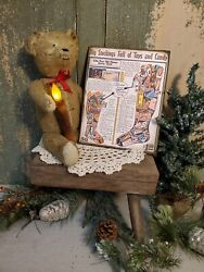 Primitive Victorian Vintage Christmas Canvas Stocking Full Of Toys Ad Canvas