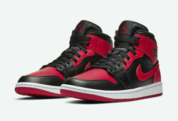 New Nike Air Jordan 1 Mid Black Red Bred Banned Men's 10,11 And Kids Gs 4 - 7y
