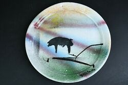 Handmade Pottery Multicolor Speckled Salad Luncheon 9-inch Plate Signed Kitchen