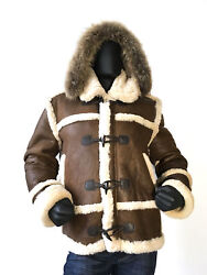 Jakewood Men's Antique Sheepskin Jacket With Toggles And Raccoon Hood Size